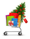 Background with shopping color bags Stock Image