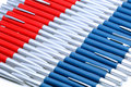 Background from silver red and silver blue pens metal Stock Photo