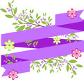 Background with simple purple ribbon and floral elements in style Stock Photography