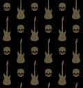 Background with skulls and guitars seamless Royalty Free Stock Photo