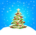 Background with snow and coorful tree Stock Images
