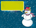 Background with snowman and label,  Stock Image