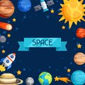 Background of solar system planets and celestial bodies Stock Photo