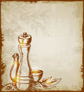 Background with spices vintage vector hand drawn Royalty Free Stock Images