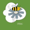 Background spring of colorful flowers bees Royalty Free Stock Images