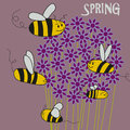Background spring of colorful flowers bees Royalty Free Stock Image