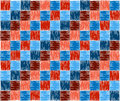 Background squares blue red embroidery texture or Stock Photo