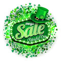 Background St. Patrick`s day mega Sale. Green light frame with leprechaun hat and clover on white background. Vector