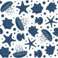 Background with starfish, seashells and jellyfish. Seamless pattern. Royalty Free Stock Photo