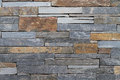 Background of stone wall texture modern tan with mixed size Royalty Free Stock Photography