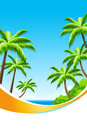 Background summer vacation with sea and palm trees Royalty Free Stock Photo
