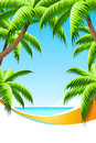 Background summer vacation with sea and palm trees Royalty Free Stock Photography