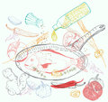 Background with taste fish dish illustration Royalty Free Stock Photography