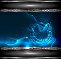 Background technology with metallic banner, vecto Royalty Free Stock Image