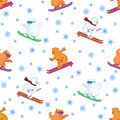 Background, teddy bears ski Stock Photo