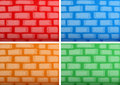 Background template with brickwalls in four different colors Royalty Free Stock Photo