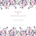 Background, template postcard with a floral ornament of the watercolor pink and purple leaves and branches, hand drawn in a pastel