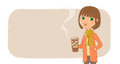 Background for text with image of a girl holding a cardboard cup of coffee.
