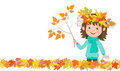 Background for text with the image of girl with wreath of autumn leaves on the head, which holds in his hand a twig with autumn le