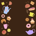 Background for text with a picture of the dessert and items for tea and coffee.