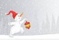 Background for text with a picture of the running of the Christmas snowman