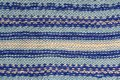 Background texture of blue pattern knitted fabric made of cotton Royalty Free Stock Photo