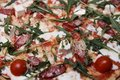 Background, texture of cooked pizza. Royalty Free Stock Photo