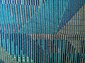 Green, beige and blue woven cloth rug Royalty Free Stock Photo