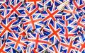 Background texture - a jumble of British Union Jack flag toothpicks