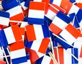 Background texture - a jumble of tricolor French flag toothpicks