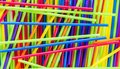 Background texture-jumbled pile of colorful plastic straws Royalty Free Stock Photo