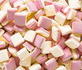 Background texture made of many marshmallows a top view pink and white square Stock Image