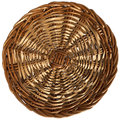 Background with texture of woven wicker circular on a white Royalty Free Stock Photo