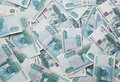 Background of thousand russian roubles bills Royalty Free Stock Photo
