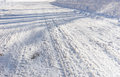 Background of tire tracks in snow Royalty Free Stock Photo