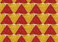 Background with triangles of golden and red glitter, seamless pattern Royalty Free Stock Photo