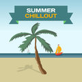 Background with Tropical Sea Landscape summer beach, palm tree Royalty Free Stock Photo