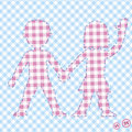 Background with two children, colored table cloth Royalty Free Stock Photography