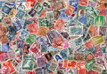 Background of used Latin American postage stamps Royalty Free Stock Photos