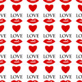 Background for valentine day seamless pattern of red lips and hearts on a white Royalty Free Stock Image