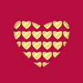 Background for valentine s day heart with a gold pattern red with heart greeting card Royalty Free Stock Image