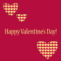 Background for valentine s day hearts of different sizes with a gold pattern red with golden hearts and greeting Royalty Free Stock Photography