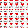 Background valentine s day seamless pattern of red lips and hearts on a white for Stock Photography