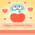 Background for valentines day with owl vector illustration Royalty Free Stock Photo