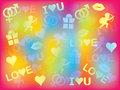 Background with valentines day symbols colorful Stock Photos