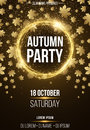 Background vertical poster for autumn party. Shining golden banner with golden dust. Abstract yellow lights. Maple leaves. Seasona Royalty Free Stock Photo
