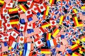 Background texture - a jumble of colorful international flag toothpicks