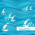 Background water waves ships. Vector abstract concept design