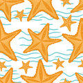 Background with waves and starfish, seamless sea pattern.