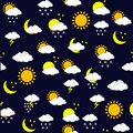 Background with weather forecast icnons, seamless Stock Images